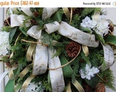 Sale 25% OFF Christmas Wreath, Pine Cone Wreath, Door Wreath, Seasons Greating