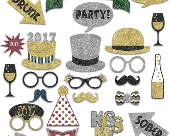 New Years Photo Booth Props 2017 - Printable Decorations and Banner - Over 40 Glitter Images - Pdf and Jpeg - INSTaNT DOWNLoAd - SALE