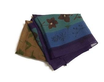 Sheer Scarf Teal Blue Chartreuse Green Leaf Print Floral Print