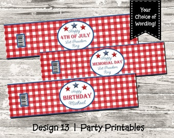 Memorial Day 4th of July Birthday Red White and Blue Water Bottle label Print Your Own Digital