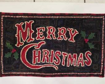 "Merry Christmas Hand hooked wool rug 24""x13.5"" juliemayfieldhome"