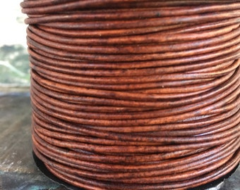 1.5mm red brown leather cord, brown natural leather, naturally dyed, 15 feet brown leather
