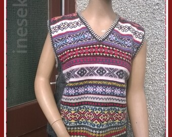 Knitted vest,knitted sleeveless top from 100% Shetland wool