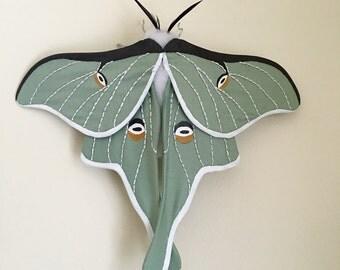 Luna Moth Soft Sculpture, Textile Art, Fiber Art