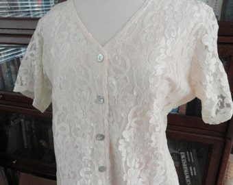 Weskit . Blouse . Ivory Lace . Lt Coral Pink Tint . Large Blouse . Lg Weskit . Vintage Lace . 13 . Impressions . USA . Abalone Buttons .