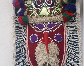 Kukeri mask - wall art, fibre art, textile art, mixed media