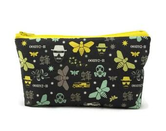 Heizenberg Zipper Pouch,  Tampon Case, Makeup Bag, Toiletry Bag, Cosmetic Bag,  Zipper Bag, Makeup Organizer