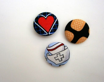 3 Stoffknöpfe Calling all nurses, DIY, EKG, patch, nurse, handmade 1/8 inches 1
