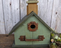 Wood Wooden Forest & Sage Green BIRDHOUSE Bird House ~ Rustic Distressed Decor ~ Rusty Hardware