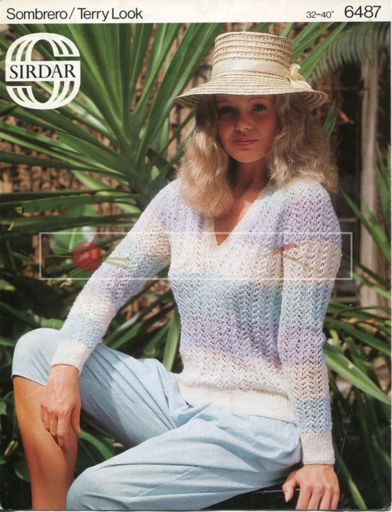 """Lady's Sweater 32-40"""" 4-ply Sirdar 6487 Vintage Knitting Pattern PDF instant download"""