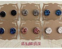 July Sale - Druzy Earrings Stud Faux Druzy Earrings Shiny Faux Druzy Bridesmaid Gift - 14mm  - Stainless Steel