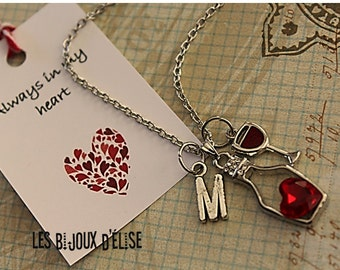 Personalized Red Wine Heart Necklace