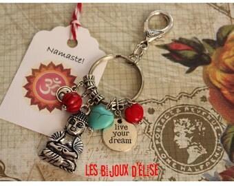 Live your Dream Keychain Buddha Keychain Red and Turquoise Yoga Bag dangle Purse Jewelry