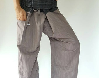 2TC0012 Grey and Black Thai fisherman/Yoga are pants Free-size: Will fit men or woman