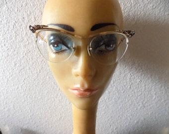 Vintage Eyewear Beautiful Womens 18K Gold Filled Cat Eye Glasses Retro