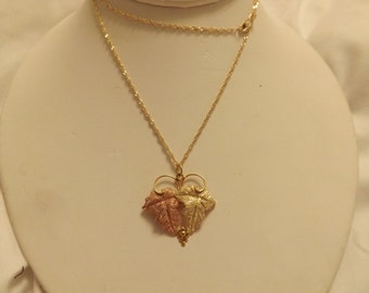 """10k Yellow & Rose Gold Grape Leaves Pendant on 24"""" Chain"""