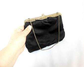 Vintage Black Sateen Evening Bag / Purse / Clutch