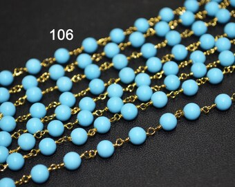 Turquoise Rosary Chain sold by FOOT, Wire Wrapped Beaded Chain, Smooth Round 5-5.5mm Beads Linked, R106