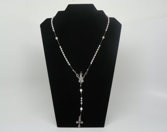 Rosary necklace made with filigree silver plated beads(.)