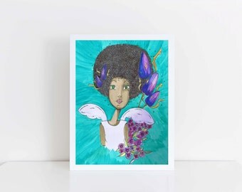 A4 giclee print, earth mother, Mothers day gift, art print, Goddess Gaia Print
