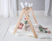 Baby Play Gym and Mobile Accessories  - White Baby Gym - Baby Activity Gym - Wooden Baby Play Gym - Activity Gym - Wooden Mobile - Boho