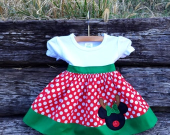 Christmas Reindeer Miss Mouse Inspired Shirt Dress for Girls  Sizes 6m-12yrs.  By Hoot n Hollar Children's Clothing