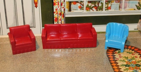 Marx Plastic Dollhouse Furniture Miniatures Tin Litho Living