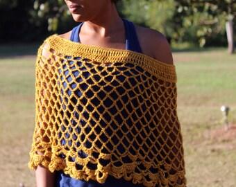 Gold Crochet Poncho - Crochet Poncho - Women's Poncho - Teen Crochet Poncho - Crochet Cover-up M148
