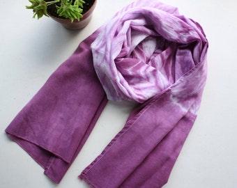 Shibory dye scarf - Cotton gauze burgundy tye-dye scarf