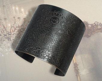 Black Lace Cuff Bracelet, Etched Brass Bracelet, Blackened Brass Cuff Bracelet, Black Metal Cuff Bracelet, Victorian Lace Cuff Bracelet
