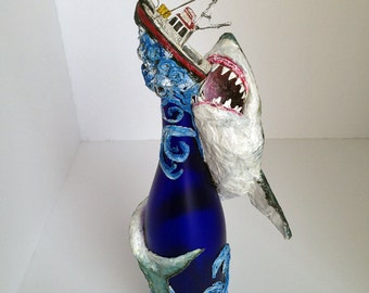 Great White Shark sculpture made from wine bottle and paper mache