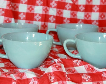 Lovely Set of 4 Vintage Turquoise Blue Coffee/Tea Cups by Fire King