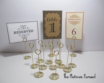 Nice ANTIQUE GOLD Ring Style Table Number Stand, Card Holder. Wedding Table  Stands   Sign