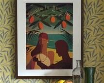 Art Deco Poster Vintage Print Vouge Fashion Romantic James Bond Dr No Tropical Hawaiian Holiday Hawaiian Seaside 1950's 1960's A3 A2 A1