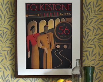 Art Deco Bauhaus A3 A2 A1 Poster Print Vintage Railway Train Travel Holiday  Seaside 1920's 1930's 1940's Folkestone London Vogue