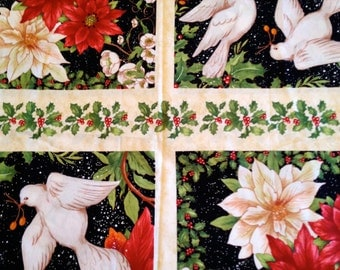CLEARANCE Christmas Fabric Panel, Red Dove Poinsettias Black Green Floral 1/2 Yard Cotton Fabric Crafting Crafts Quilting