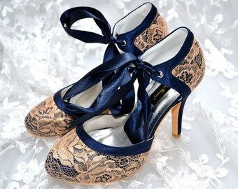 Custom handmade Navy Blue satin & gold lace bow tie front mid heel bridal wedding ankle mary jane dorsay court
