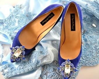 Swarovski crystal My something Blue Silver Cobalt Navy Velvet Suede bridal embellished Court High heel shoe pump