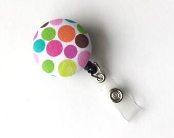 Retractable ID BADGE Reel Holder, Lanyard - Pink Blue Green Polka Dots