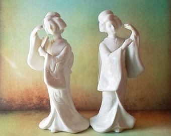 Vintage Homco Geisha Porcelain Figurines 1950's