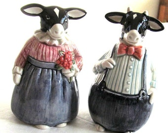 Mr. and Mrs. COW Vintage Ceramic Salt & Pepper Shakers      Cows Fully-Dressed     by Otagiri