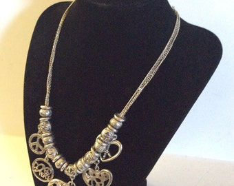 Peace charm necklace 16-19 in