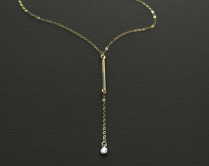 Gold Fill Bar and Crystal Lariat Style Rosary Necklace