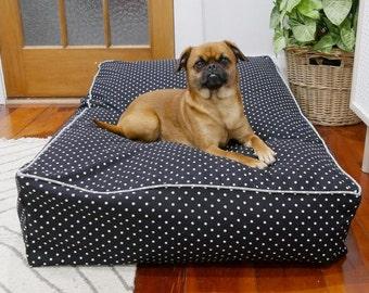 Black Spots Dog Bed