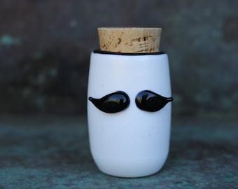 The original stash jar- handblown mustache glass jar