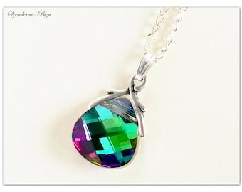 Silver plated pendant, Swarovski Elements, Flat Briolette 15mm Electra, Briolette pendant, Electra pendant, Green pendant, Swarovski pendant
