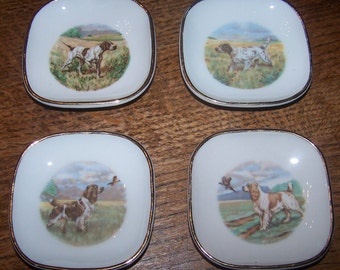 "Vintage Set of 4 French ""Limoges""  Porcelain Pin Dishes - Hunting or Field Dogs."