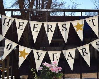 Custom Burlap Banner Happy Birthday 40 Birthday Banner 10th, 20th,30th,50th Bunting Garlands