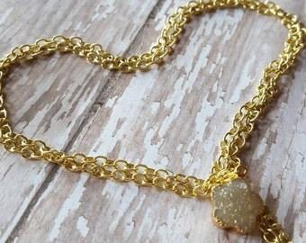 Lil' Daisy - Clear Quartz - Druzy - Drusy - Raw Crystal - Layering Necklace - Gold Necklace- Boho Jewelry - Hippie Jewelry - Hipster Jewelry