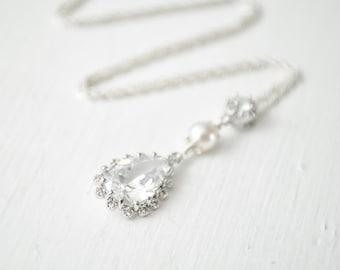 Crystal Pendant, Teardrop Bridal Necklace, Wedding Necklace, CZ Necklace